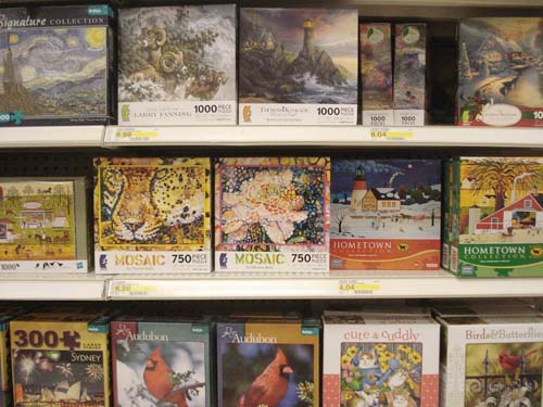 Mosaic-style puzzles on shelf at Target